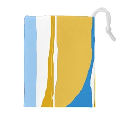 Blue and yellow lines Drawstring Pouches (Extra Large)