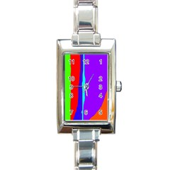 Colorful decorative lines Rectangle Italian Charm Watch