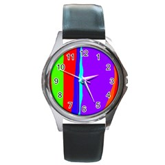 Colorful decorative lines Round Metal Watch