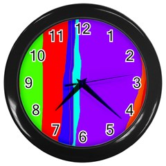 Colorful decorative lines Wall Clocks (Black)