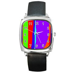 Colorful decorative lines Square Metal Watch