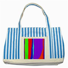 Colorful decorative lines Striped Blue Tote Bag