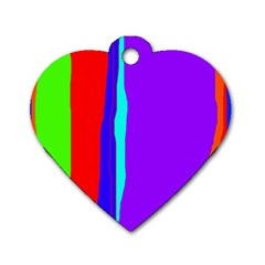 Colorful decorative lines Dog Tag Heart (One Side)