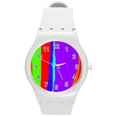 Colorful decorative lines Round Plastic Sport Watch (M)
