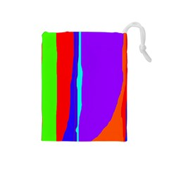 Colorful decorative lines Drawstring Pouches (Medium)