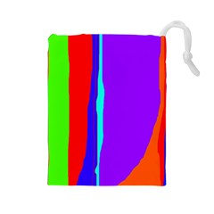 Colorful decorative lines Drawstring Pouches (Large)