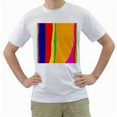 Colorful lines Men s T-Shirt (White) (Two Sided)