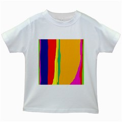 Colorful lines Kids White T-Shirts
