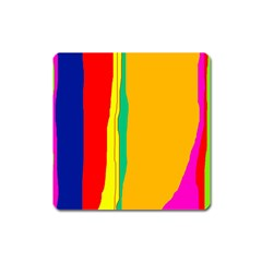 Colorful lines Square Magnet