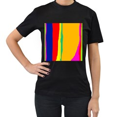 Colorful lines Women s T-Shirt (Black) (Two Sided)