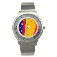 Colorful lines Stainless Steel Watch
