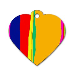 Colorful lines Dog Tag Heart (One Side)