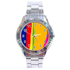 Colorful lines Stainless Steel Analogue Watch