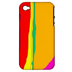 Colorful lines Apple iPhone 4/4S Hardshell Case (PC+Silicone)