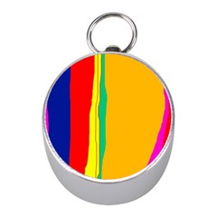 Colorful lines Mini Silver Compasses