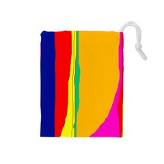 Colorful lines Drawstring Pouches (Medium)