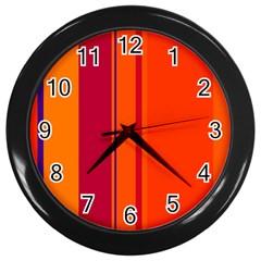 Orange lines Wall Clocks (Black)