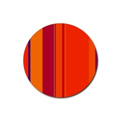 Orange lines Rubber Round Coaster (4 pack)
