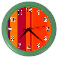 Orange lines Color Wall Clocks