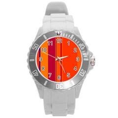 Orange lines Round Plastic Sport Watch (L)
