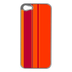 Orange lines Apple iPhone 5 Case (Silver)