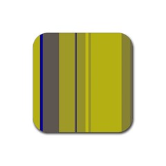 Green elegant lines Rubber Coaster (Square)