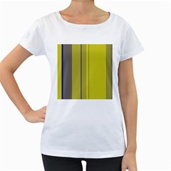 Green elegant lines Women s Loose-Fit T-Shirt (White)