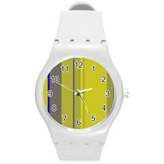 Green elegant lines Round Plastic Sport Watch (M)