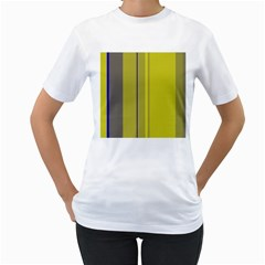 Green elegant lines Women s T-Shirt (White)