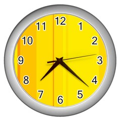 Yellow lines Wall Clocks (Silver)