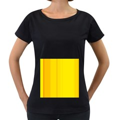 Yellow lines Women s Loose-Fit T-Shirt (Black)