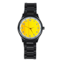 Yellow lines Stainless Steel Round Watch