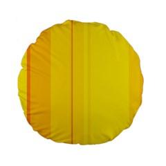 Yellow lines Standard 15  Premium Flano Round Cushions