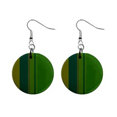 Green elegant lines Mini Button Earrings