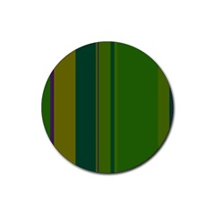 Green elegant lines Rubber Coaster (Round)