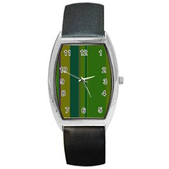 Green elegant lines Barrel Style Metal Watch