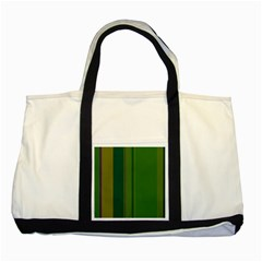Green elegant lines Two Tone Tote Bag