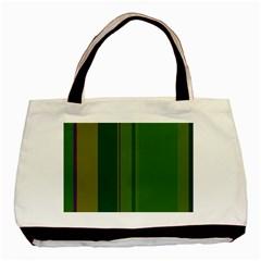 Green elegant lines Basic Tote Bag (Two Sides)