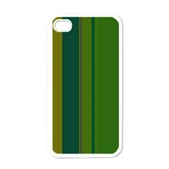Green elegant lines Apple iPhone 4 Case (White)