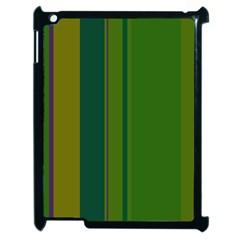 Green elegant lines Apple iPad 2 Case (Black)