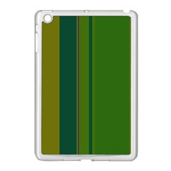 Green elegant lines Apple iPad Mini Case (White)