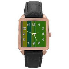 Green elegant lines Rose Gold Leather Watch