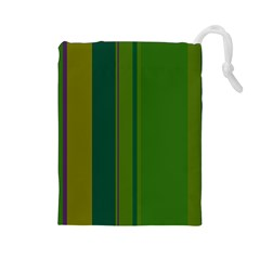 Green elegant lines Drawstring Pouches (Large)
