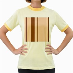 Elegant brown lines Women s Fitted Ringer T-Shirts