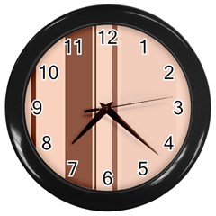 Elegant brown lines Wall Clocks (Black)