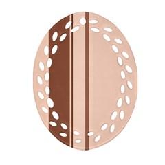 Elegant brown lines Oval Filigree Ornament (2-Side)