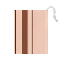 Elegant brown lines Drawstring Pouches (Large)