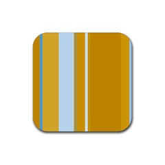 Yellow elegant lines Rubber Square Coaster (4 pack)