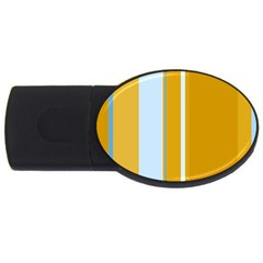 Yellow elegant lines USB Flash Drive Oval (2 GB)