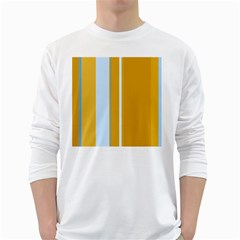 Yellow elegant lines White Long Sleeve T-Shirts